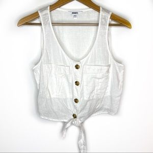 Express white linen button up crop top Small